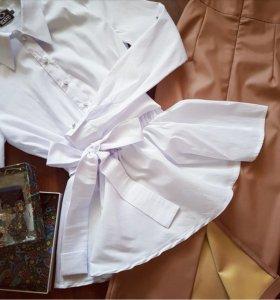 Блузка рубашка с баской Новая