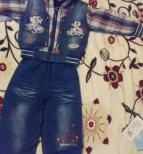 Тёплый костюмчик под джинсу на флисе