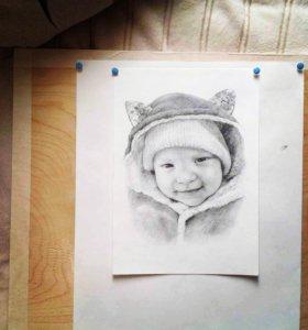 Детские портреты карандашом