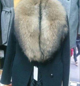 Пальто кашемир, натуральный енот