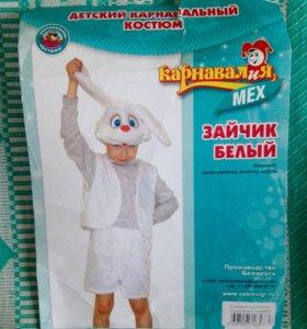 Карнавальный детский новый костюм зайца и ободок