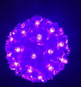 Шар светящийся новогодний фиолетовый  гирлянда