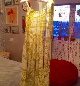 Платье с длинным широким поясом