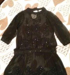 Шифоное платье с камнями