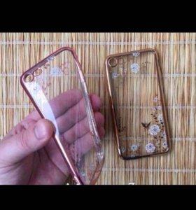 """Чехол для iPhone 7 """" Стразы, силикон, цветы """""""