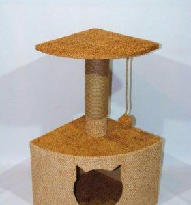 Угловой домик для кошек с когтеточкой