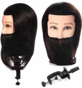 Мужской манекен головы болванка 100% чел. волос
