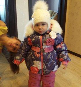 Детский зимний комплект комбинезон с курткой