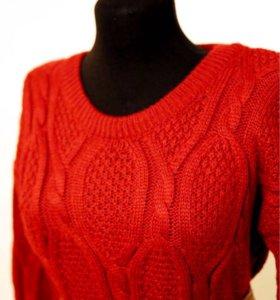 Свитер пуловер бордовый крупная вязка