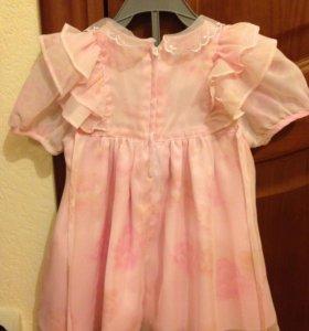 Розовое платье р.92