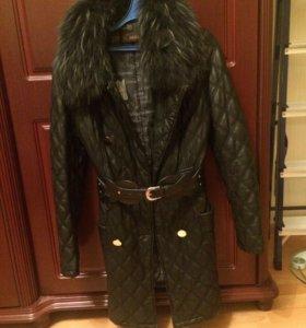 Зимнее пальто ЭКОкожа