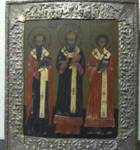 """Икона старинная """"Три Святителя"""" именник! 19 век"""