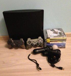 PS3 + джойстик+ps move+5 игр