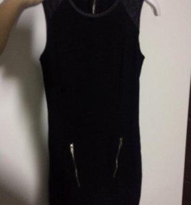Сарафан чёрный с кожаными вставками на плечах