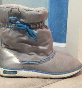 Голубые зимние дутики Adidas