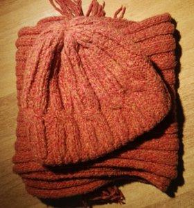 Шапка + шарф зимний комплект