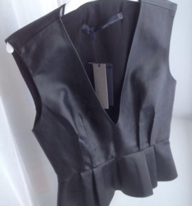 Кожаная блузка Zara (XS/S)
