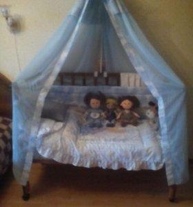 кроватка, матрас, борта, вуаль