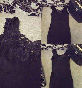 Платье, чёрное, приталенное