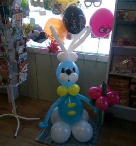 Зайчик из воздушных шаров!