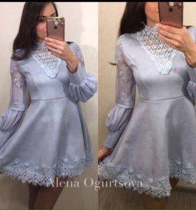Модное платье из замши
