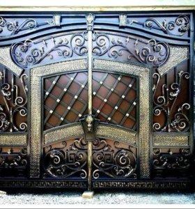 Кованные ворота перила навесы заборы .