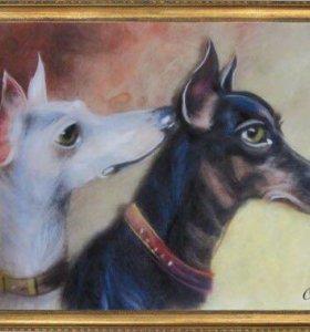 """Картина из шерсти """"Собаки"""""""