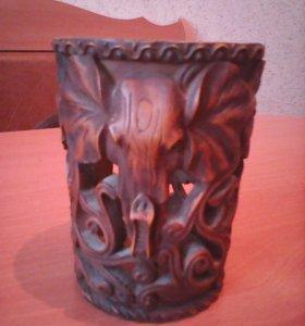 Декоративная деревянная ваза