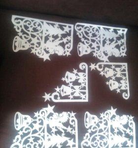 Бумажные украшения на окна на новый год