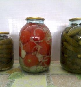 Огурцы, помидоры маринованные .
