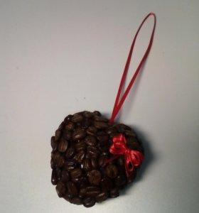 Сердечко из натурального кофе
