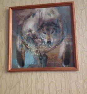 """Картина """" Волк"""" 30х30"""