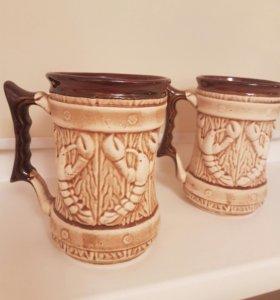 Набор глиняных кружек для пива
