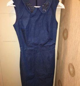 Джинсовое платье стразы