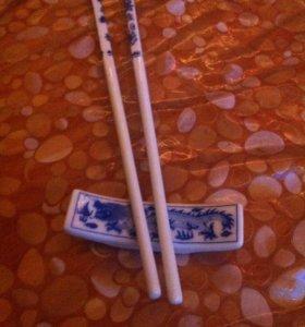 Палочки для суши и подставка.Керамические.