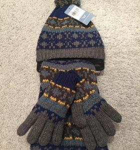 Новые шапка,шарф,перчатки английская фирма  TU