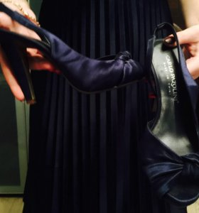 Туфли-босоножки синие на каблуке carlo pazolini