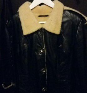 зимнее коженное пальто