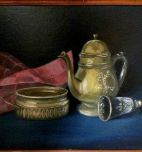 Натюрморт с золотым чайничком.
