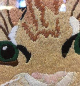 "Картина ""Кот"" вышивка ручная, гладь."