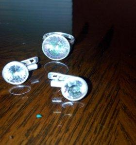 Набор серебряный, кольцо и серьги
