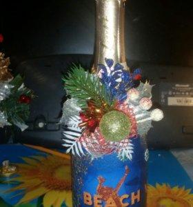 Новогоднее шампанское декупаж и украшение