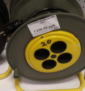 Удлинитель на катушке провод ПВС2×2,5 20 м. 4 розе