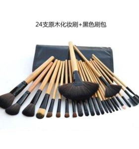 Кисти для макияжа 24 шт черный с дер. ручками