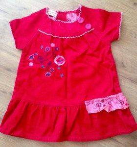 Вельветовое платье 6-12 мес