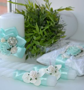 Свадебные свечи, подушечка для колец