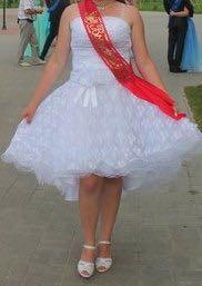 Платье выпускное, короткое со шлейфом