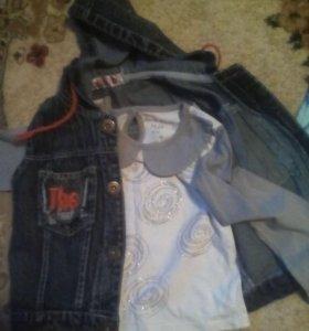 Толстовочка и жилетка джинс.на 1 годик
