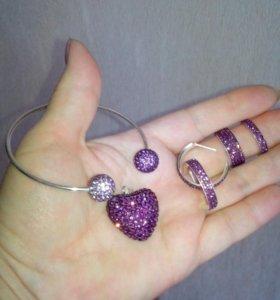 Серьги, кольца, кулон, браслет