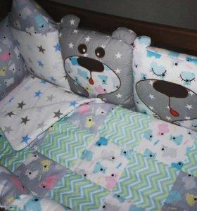 Бортики, комплект в кроватку, одеяло на выписку